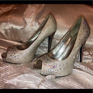 Silver Rhinestoned High Heels